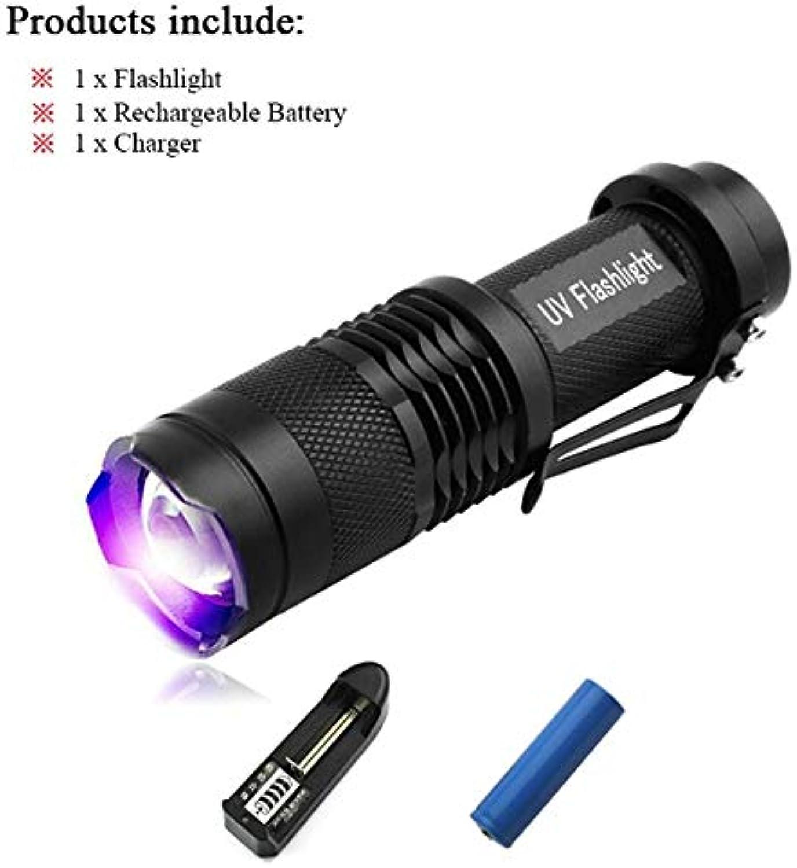 Paket B 395 NM Mini-Taschenlampe mit Cree-LEDs, Wellenlnge 365 nm, Schwarzlicht, 395 nm, lilat, UV-Schutz, Schwarzlicht