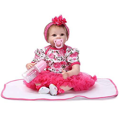 CAheadY 46cm Reborn Baby Doll Lebensechtes Vinyl Silikon Spielzeug mit Kleid Kinderbegleitung red