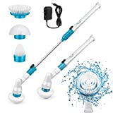 Electric Spin Scrubber, 360 Cordless Tub and Tile Scrubber, Multi-Purpose Power Surface Cleaner with 3 Replaceable Cleaning Scrubber Brush Heads, 1 Extension Arm and Adapter