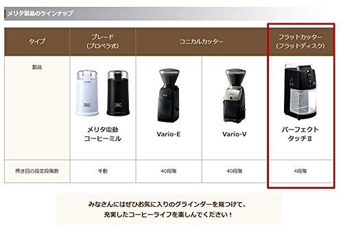 メリタ Melitta コーヒー グラインダー コーヒーミル 電動 フラットディスク式 杯数目盛り付き ホッパー 100g、 定格時間 90秒間 パーフェクトタッチII CG-5B