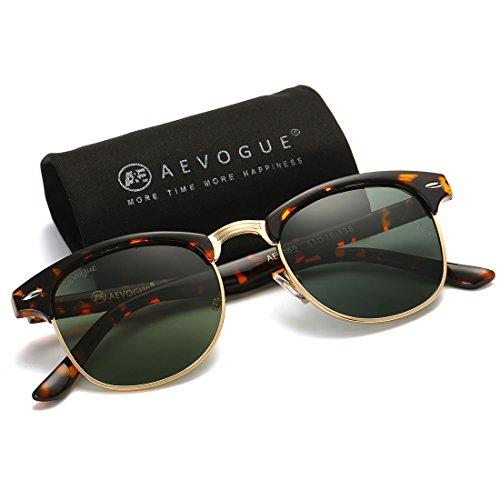 AEVOGUE Polarized Sunglasses Semi-Rimless Frame Brand Designer Classic AE0369 (Tortoise&G15, 48)
