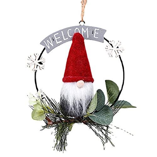 Adornos para puerta delantera de Rudolph Corona de hierro, muñeca gnomo corona de Navidad, colgante de árbol de Navidad, muñeca de gnomo elfo decoración del hogar para regalos de año nuevo