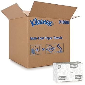 Kleenex Multifold Paper Towels  01890  White 16 Packs / Case 150 Tri Fold Paper Towels / Pack 2,400 Towels / Case