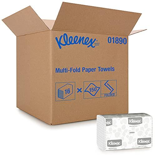 Kleenex 1890 Essuie-mains enchevêtrés, 16 paquets de 150 feuilles en papier, Technologie absorbante Airflex , Couleur : Blanc, U1890400