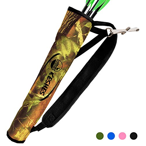 KESHES Archery Back Arrow Quiver Holder - Adjustable Quivers for Arrows, for Bow Hunting and Target Practicing; Youth and Adults (CAMO)