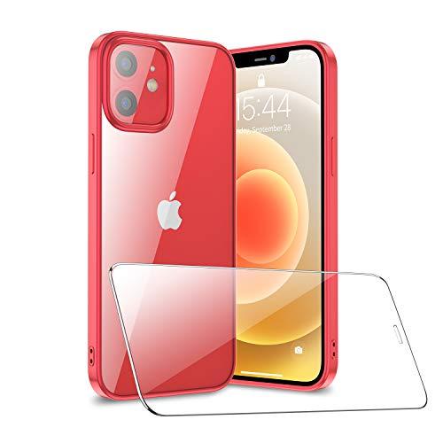 SmartDevil Compatible con iPhone 12 Mini Funda con Gratis Vidrio Templado Protector de Pantalla, Ultra Fina Silicona Transparente TPU Carcasa Anti-Choque Anti-arañazos Caso, Rojo