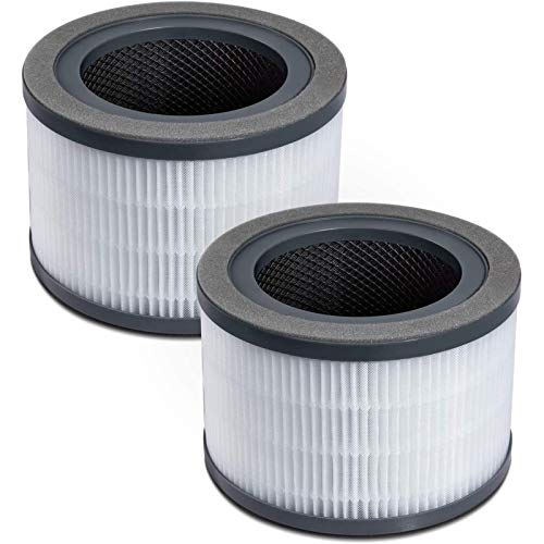 LEVOIT Air Purifier Replacement Filter, 3-in-1 True HEPA, High-Efficiency Activated Carbon, Vista 200-RF, 2 Pack, Black