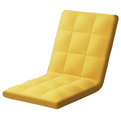 Lazy Sofa Bean Bag Chair Japanese Folding Cushion Chair Bedroom Bed Back Chair Single Floor Game Sofa Chair Removable And Adjustable Angle GCSQF1015 (Color : Yellow)