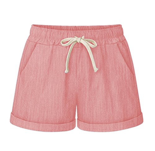 Vcansion Women's Casual Cotton Elastic Waist Drawstring Summer Beach Shorts with Pockets Pink US 4-6/Asian XL