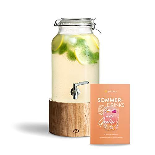 Glas Getränkespender 5 L Greta mit Edelstahl-Zapfhahn & Ständer aus Eichenholz, Limonaden-Spender, Vintage Design Mason Jar