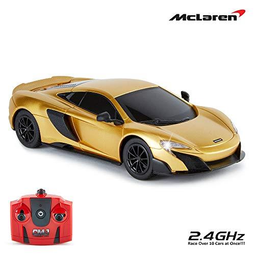CMJ RC Cars McLaren 675LT oficjalnie licencjonowany zdalnie sterowany samochód, skala 1:24, reflektor roboczy, 2,4 GHz, złoty