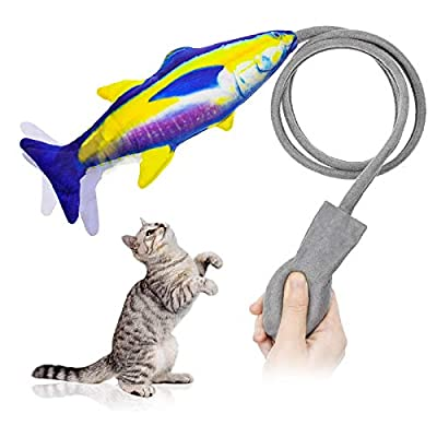 ABsuper Catnip Toy Fish Cat Toys Interactive Chew Toy for Indoor Cats, Updated Floppy Fish Funny Wagging Simulation Plush Fishes Pillow for Kitten Biting Chewing Kicking Teeth Cleaning
