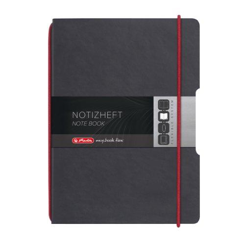 Herlitz Notizheft my.book flex, A4, Lederoptik-Wechselcover, kariert mit Verschlußgummi, 40 Blatt, rot/anthrazit