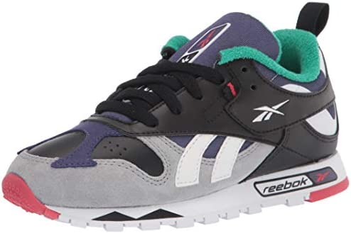 Reebok Boys Classic Leather Recrafted Sneaker Black True Grey Midnight Blue Red 1 M US product image
