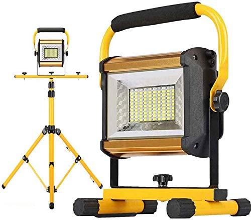 GANE 100W Portable LED Work Light, Rechargeable Flood Lights, 8000LM, 3 Levels Brightness Adjustable, Blue & Red Emergency Flashing Light, Telescopic Tripod