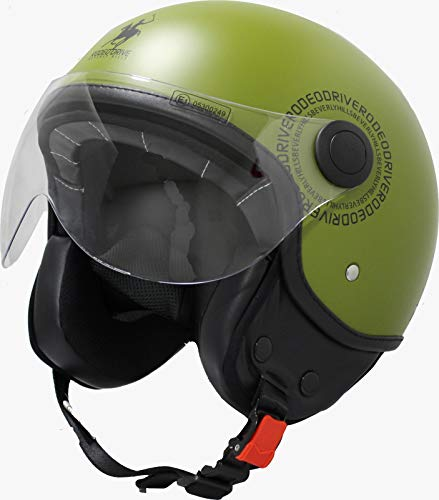 Rodeo Drive RD104N Plus Casco scooter demi jet color verde militar, pequeño