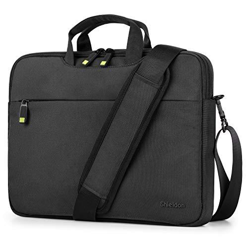 SHIELDON 13-14 Inch Laptop Shoulder Bag, Laptop Messenger Bag with Detachable Shoulder Strap, Wear Resistant Men Business Briefcase Compatible with MacBook Air/Macbook Pro/HP/Dell Laptop, Black