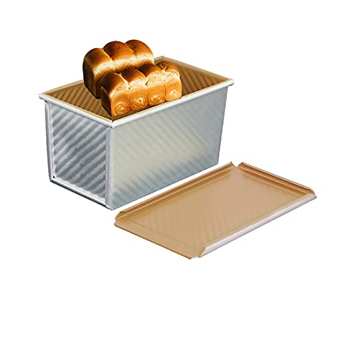 Baking Bread Pan with Lid Non-Toxic Aluminum Alloy Baking Pans Cookie Sheets Easy To Clean for Baking And Roasting Rectangle,B