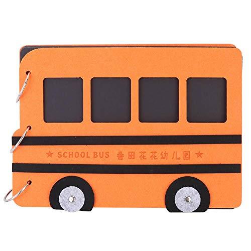 Kinderdagverblijf jubileumgeschenk, kinderen doe-het-zelf bus gevormd 15 pagina's losse blad-fotoalbum voor kinderen oranje