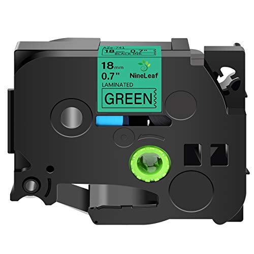 NineLeaf 1PK Compatible for Brother TZe-741 TZe741 TZ-741 TZ741 Label Tape 18mm 3/4'' x 26.2' Black on Green Standard Laminated Labeling Work with P-Touch PT-1880 PT-D400 PT-P700 PT-D600 Label Maker