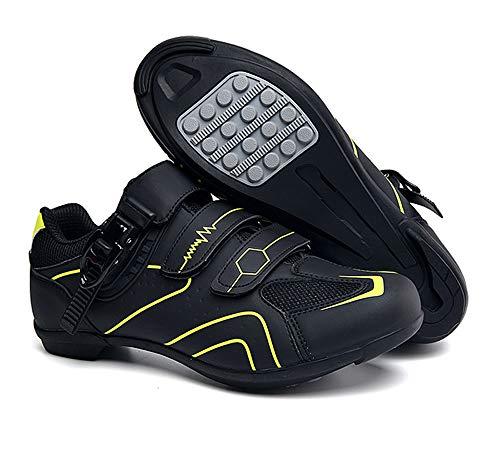 tangjiu Zapatillas de Ciclismo Antideslizantes, Zapatillas de Bicicleta de Carretera y Montaña de Fibra de Carbono Transpirables, Zapatillas Deportivas Asistidas con Tiras Reflectantes (Amarillo,46)