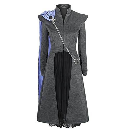 Heldig Women's Jacket Suit Game of Thrones Cosplay Daenerys Costume (Color : Gray, Size : Small)