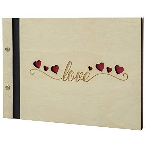 botle Love Liefde. Hart fotoalbum houten album 60 zwarte bladzijden fotoboek zelf vormgeven inplakken