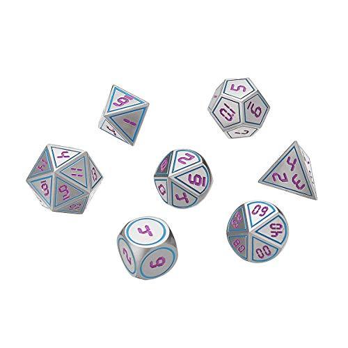 Terrarum 7st antieke metalen polyhedrale dobbelstenen rol spelen spel dobbelstenen set meerzijdige dobbelstenen