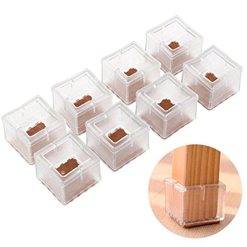 HMILYDYK Lot de 8 embouts carrés en silicone pour pieds de chaise ou de table de 30 à 35 mm