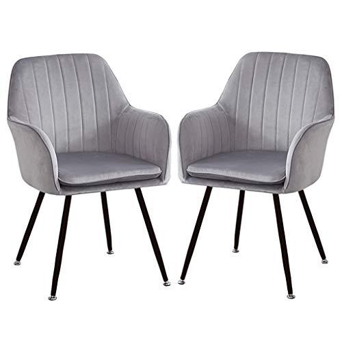 zyy Juego de 2 sillas de cocina, sillas de comedor, sillones de terciopelo suave con cojín trasero, patas de metal, sillas de cocina, para comedor y sala de estar, silla de escritorio (color: gris)