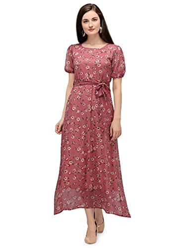 Serein Women's Chiffon Fit and Flare Maxi Dress