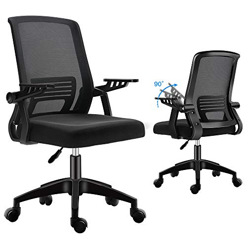 Ergonomic Office Chair, mesh Computer Desk Chair with Wheels Kids Rolling Chair for Home Office Modern Comfy Office Chairs with arms Height Adjustable Back Lumbar Support Black Task Chair (Black)