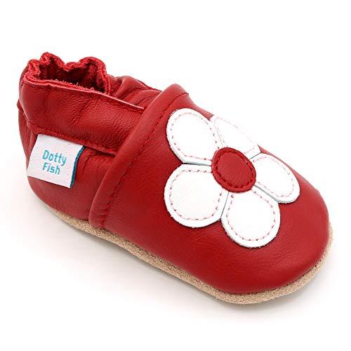 Dotty Fish Zapatos de Cuero Suave para bebés. Antideslizante. Flor roja y Blanca. 12-18 Meses (21 EU)
