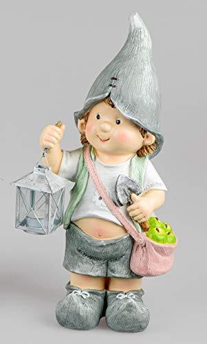 Zomerkinder tuinfiguren staand met lantaarn 42 cm hoog jongen of meisjes Felix en Suse jongens