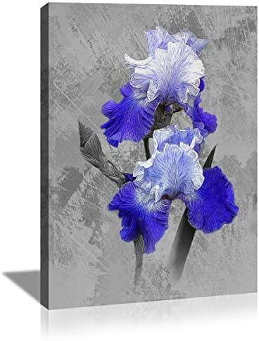 KuyiArt Modern Canvas Wall Art for Bathroom Decor Purple and White Flower Painting Poster Artwork product image