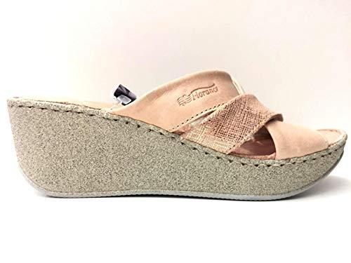FLORANCE Scarpe Sandalo Sandali Donna 39206 Pelle Cipria Originale PE 2020