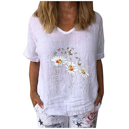 FeelFree+ Tops y Camisetas para Mujer Blusas básicas de Manga Corta con corazón Informal Camisas Sueltas Estampadas de Encaje con Cuello en V Camisetas de Fiesta de Verano Tops Originales