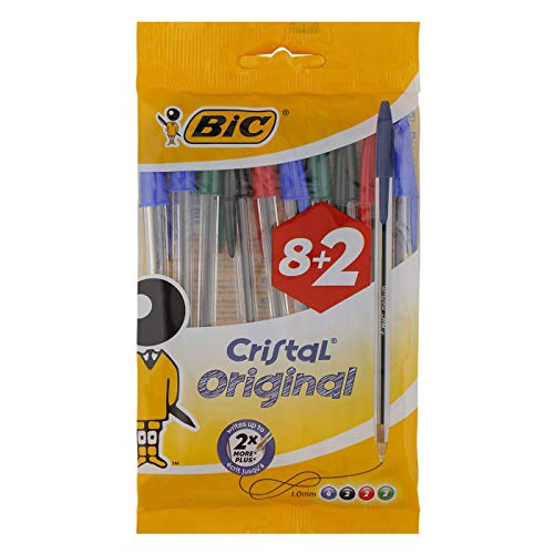 BIC Cristal Original Bolígrafos Punta Media (1,0 mm) – Colores Surtidos, Blíster de 8+2, para escritura suave, certificados con etiqueta ecológica
