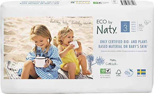Eco by Naty, Taille 3, 100 couches, 4-9kg. Couche écologique fabriquée à partir de fibres végétales, 0% de plastique issu du pétrole au contact de la peau.