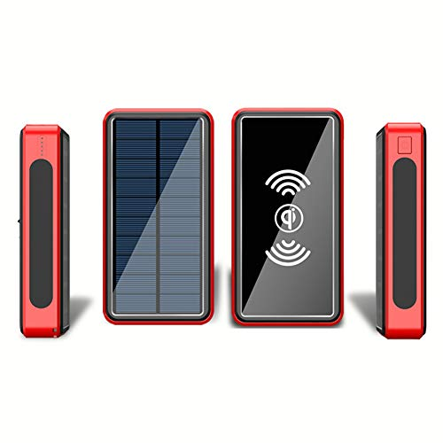 ZYRZYR 30000mAh Huge Capacity Portable Solar Power Bank Qi Wireless Solar Charger Rainproof External Backup Battery with 4 USB Charging Device and LED Flashlights,Red