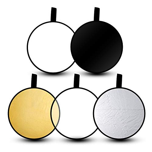 "Emart 24"" 5-in-1 Portable Photography Studio Multi Photo Disc Collapsible Light Reflector with Bag - Translucent, Silver, Gold, White and Black"