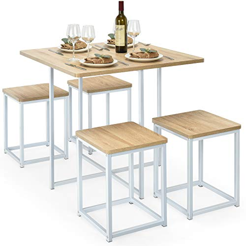 Giantex 5 Piece Dining Table Set, Dining Set for 4 with Square Stools, Small Kitchen Table Set with Metal Frame, Compact Design for Small Space, Home Kitchen Bar Pub Apartment (Beige & White)