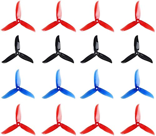 Crazepony 16pcs DALPROP T5045C 5045 Props 5 Inch 3-Blades CW CCW Tri-Blade Propeller, Best Match for 200 210 230 250 FPV Racing Drone Quadcopter Frame Kit (Black Red Blue Red)