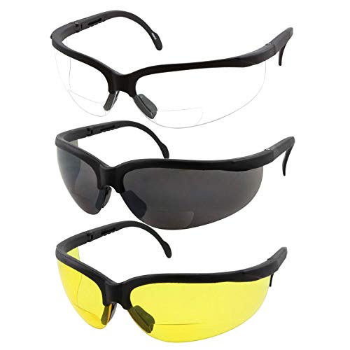 3 Pairs Combo Bifocal Safety Reading Glasses - Assorted Colors Clear Black Yellow Lens - With Side Cover (Diopter +2.00)