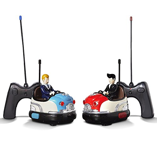 FAO Schwarz Premium RC Toy Bumper Car Set - Remote Controlled Head-to-Head 2-Player Competitive Action - Drivers Eject When Hit! - 1950s Nostalgic Retro Design - Built-in Digital Sound Effects
