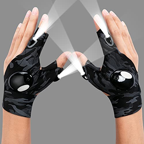 LED Flashlight Gloves, Cool Gadgets Tools for Outdoor Camping Fishing, Hands Free Light Gloves, Birthday Christmas Gift Idea for Men Women Who Has Everything, 1 Pair