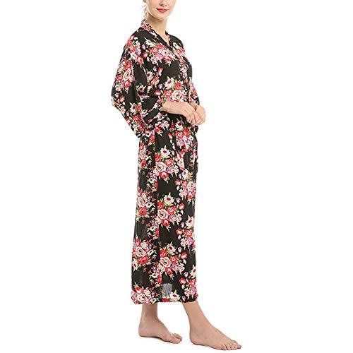 Dames Kimono Robe, Katoen Print Extra Lange Bruidsmeisje pyjama Comfortabele Badjassen voor Bruiloft Party
