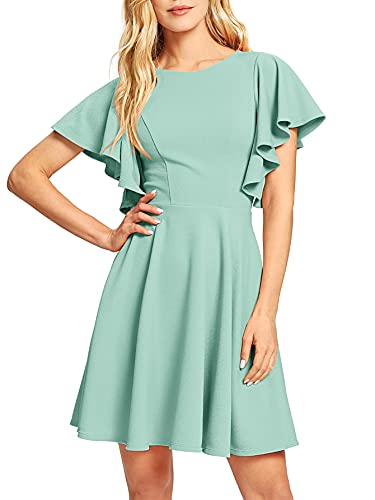 Romwe Women's Stretchy A Line Swing Flared Skater Cocktail Party Dress Mint Green XL