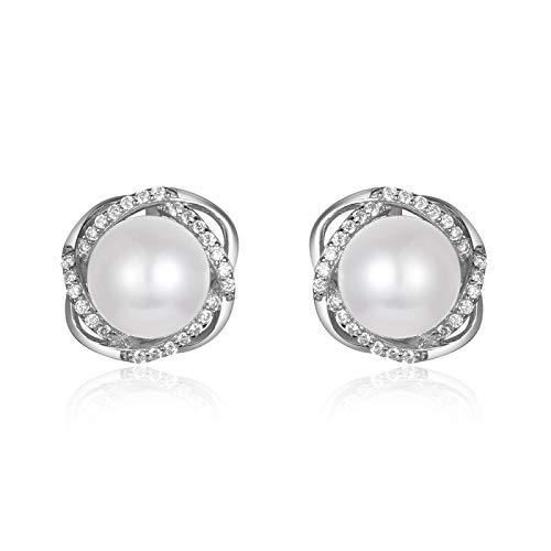 Pendientes de botón de plata de ley 925 concha de perlas simuladas, gemas redondas, pendientes de circonita, joyería fina, pendiente de temperamento para mujer