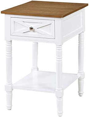 Convenience Concepts Country Oxford End Table with Charging Station, Driftwood/White